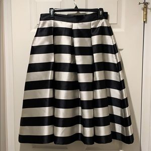 Eliza J Black Silver Stripe Faux Silk Full Skirt
